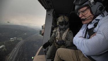 Prime Minister Scott Morrison tours the bushfire affected regions of the Blue Mountains.