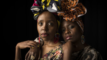 Niwa Mburuja, left, and Wanyika Mshila   are 2 Sydney Stylists. As African-born Australian women, they are passionate about the art and beauty of African head-wraps. They will be sharing their ideas in a practical head-wrapping workshop as part of the All About Women festival.