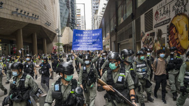 Riot police on the front line in Hong Kong.