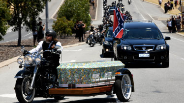 Hundreds of bikies rode from the funeral home in north Perth to Pinneroo Valley Memorial Park on Wednesday, before wakes at clubhouses around Perth.