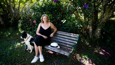 Gabrielle Rogers in the garden of her Tamborine Mountain home shared with husband Andrew Jack.