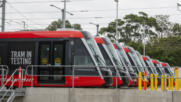 Light rail vehicles at a stabling yard next to Randwick Racecourse have been undergoing testing.