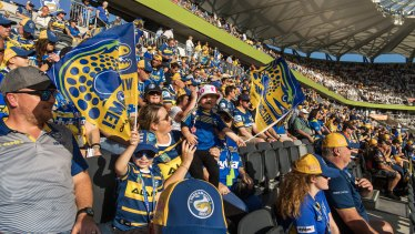 Parramatta fans rise up to the rafters in the Eels' first home game at Bankwest Stadium.