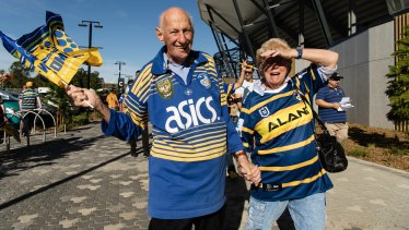 Eels fans Peter and Coral Nickl outside their new stadium.