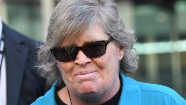 Lee Rimmer outside court after Bradley Edwards was convicted of murdering her sister Jane Rimmer.