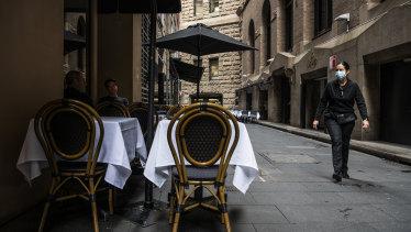 Quiet cafes and restaurants in Ash Lane, Sydney.