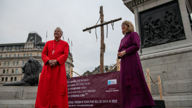 Archbishop of Westminster, Vincent Cardinal Nichols, and Bishop of London, Sarah Mullally, deliver Easter messages and a prayer in front of crucifix at Trafalgar Square on April 2, 2021 in London, England.