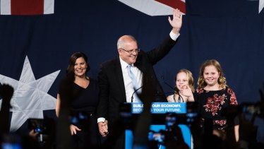 Scott Morrison with his family, claiming victory in the ballroom of the Sofitel Wentworth in Sydney.