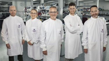 The University of Queensland's Daniel Watterson, Christina Henderson, Paul Young, Keith Chappell and Trent Munro.
