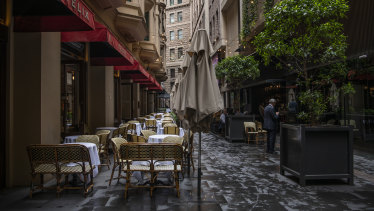 Cafes in Sydney's CBD are suffering, with spending on hotels, cafes and restaurants expected to more than halve.