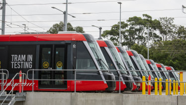 Are we there yet? Light rail vehicles at a stabling yard next to Randwick Racecourse have been undergoing testing.
