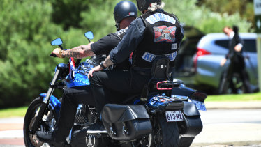 Hundreds of bikies rode from the funeral home in north Perth to Pinneroo Valley Memorial Park.