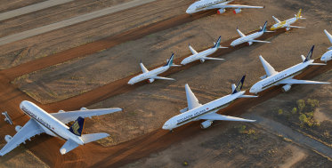 """Thousands of planes have been """"parked"""" indefinitely after the coronavirus pandemic decimated travel demand."""