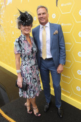 Julie Bishop and her partner David Panton in the Bumble marquee.