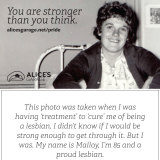 The cards that lesbian Malloy Rolfe handed out to the crowd tell of her conversion therapy in her 30s.