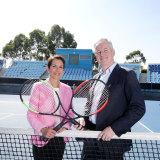 Moving on: Hugh Marks, with Tennis Australia chair Jayne Hrdlicka.
