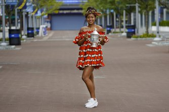 Osaka dressed in a nod to her Haitian heritage for the photo shoot after her US Open win.