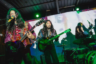 Musicians Tomo Katsurada, Daoud Popal, and Go Kurosawa of Kikagaku Moyo perform onstage during Levitation at Barracuda in Texas last year.