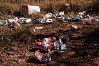 Empty cans and goon bags litter the suburb of East Newman. According to the Shire of East Pilbara, 90 per cent of domestic violence incidents in the shire are alcohol-related.