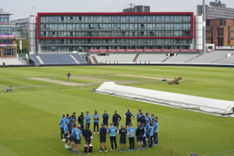 England's players train before the cancelled Old Trafford Test against India.