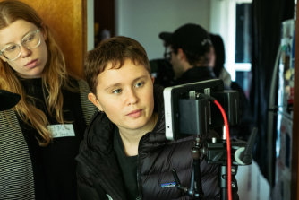 Young actress-turned-director Eliza Scanlenon the set of her short film <i>Mukbang</i>.