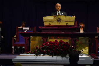Reverend Al Sharpton delivering the eulogy at the funeral of Daunte Wright, who was also shot dead by Minnesota police.