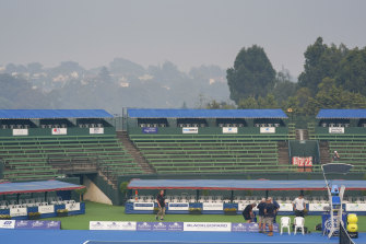 Kooyong Lawn Tennis Club in a smoke haze on Tuesday morning.