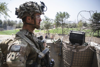 A US Army paratrooper of the 82nd Airborne Division stationed at Hamid Karzai International Airport in Kabul.