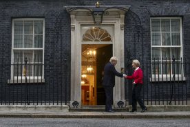 British Prime Minister Boris Johnson welcomes European Commission President Ursula von der Leyen to Downing Street on Wednesday.