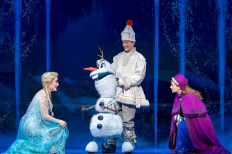The Australian cast, pictured is Jemma Rix, Matt Lee and Courtney Monsma, excel in Frozen.