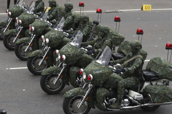 Members of the Taiwan Special Forces perform during the National Day celebrations in Taipei.
