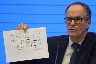 Peter Ben Embarek, WHO mission head, holds up a chart showing pathways of transmission of the virus.