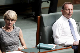 Julie Bishop and Tony Abbott during a division in the House of Representatives in December 2018.