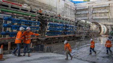 Wendy, one of five tunnel boring machines, is about 150 metres long.