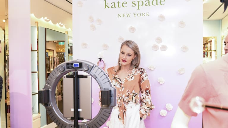 """Influencer Paige Craswell at the launch of the Kate Spade perfume """"In Full Bloom"""" at the Kate Spade Store in Westfield on Wednesday."""
