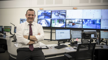 Metro trains operations manager Cory Roeton at the nerve centre of the Metro North West line at Rouse Hill.