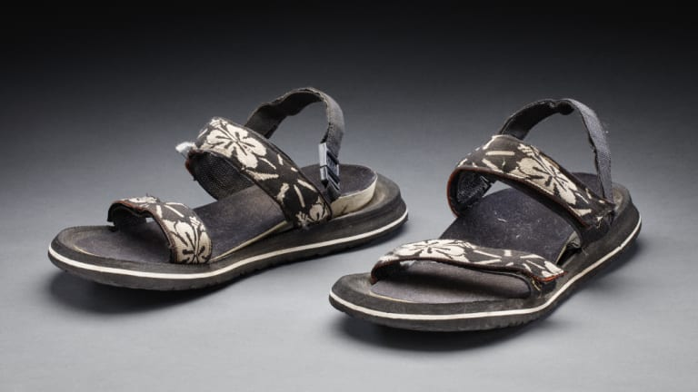 "The sandals Michael Long wore on ""The Long Walk""."