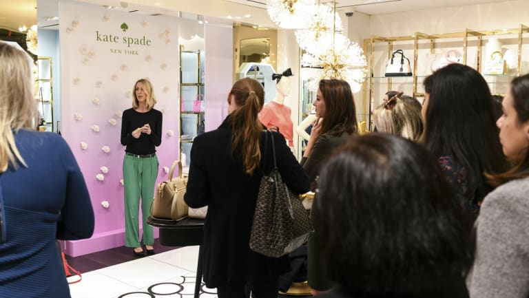 "Pam Wilson pays tribute to the late Kate Spade at the launch of the Kate Spade perfume ""In Full Bloom"" at Westfield Sydney on Wednesday."