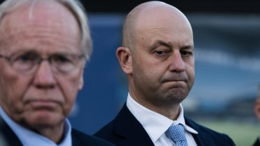 Falllout: ARLC chairman Peter Beattie and NRL chief executive Todd Greenberg speak after the decision.