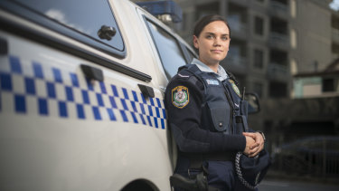 Constable Anna Gaydon outside Redfern Police Station.