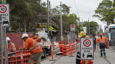 A section of the light rail construction works on Devonshire Street in Surry Hills.