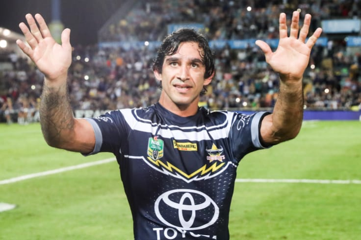 Fond farewell: Thurston waves goodbye to the Cowboys home crowd last week.