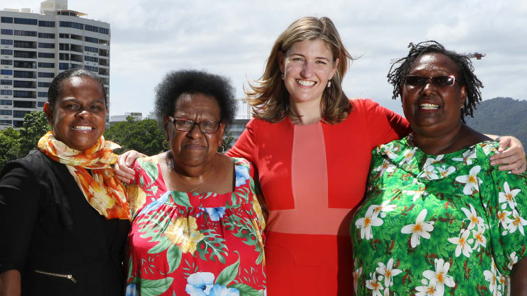 Labor MP for Cook Cynthia Lui, Aunty Rose Elu, Communities Minister (and Ministerial Champion for the Torres Strait) Shannon Fentiman and Aunty Ivy Trevallion during the campaign.