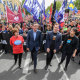 The workers, united: Premier Daniel Andrews, Luke Hilakari from Trades Hall and ACTU secretary Sally McManus march together in Melbourne this year.