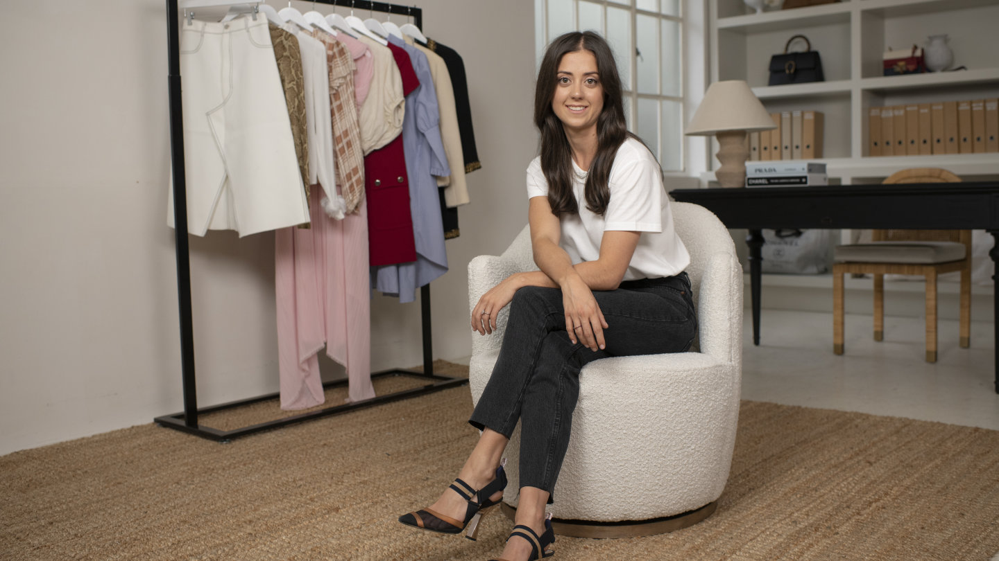Lisa Caldwell, the founder of Pre Loved Closet, at her office in Sydney.