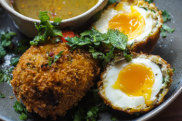 Son-in-law scotch egg with nuoc cham dipping sauce recipe.