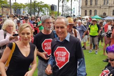 Former Greens Leader Bob Brown and Queensland Greens Senator Larissa Waters at the anti-Adani convoy's Brisbane rally