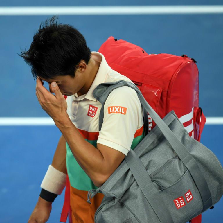 Kei Nishikori from his quarter-final clash with Novak Djokovic with an upper-leg complaint.