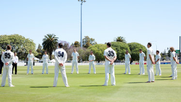 Players in the Sheffield Shield gather for a barefoot circle in Adelaide last week.