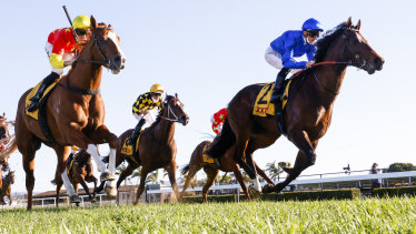 Anamoe (blue silks) gets past In The Congo to win the Run To The Rose.